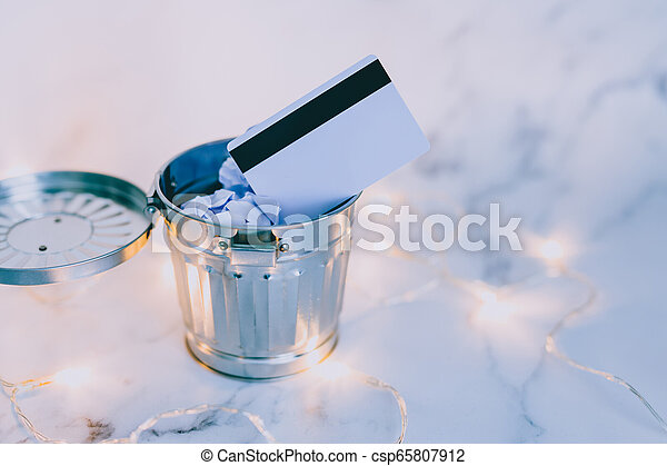 jeté, entouré, paiement, lumières, bureau, fée, déchets ménagers, marbre, carte - csp65807912