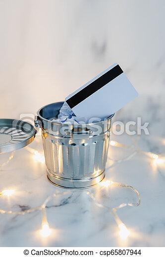 jeté, entouré, paiement, lumières, bureau, fée, déchets ménagers, marbre, carte - csp65807944