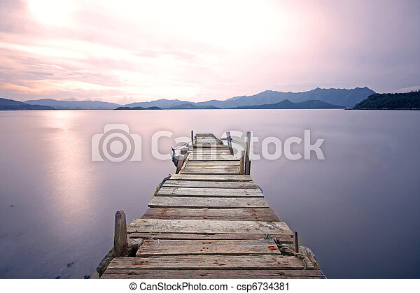jetée, walkway, vieux, jetée, lac - csp6734381