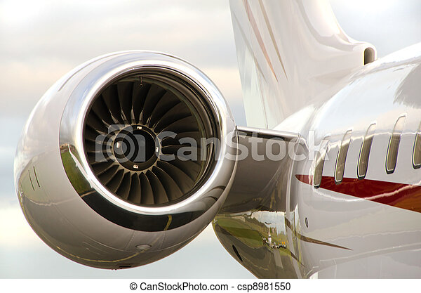Jet Engine on a Private Plane - Bombardier  - csp8981550