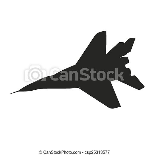 jet fighter airplane vector silhouette