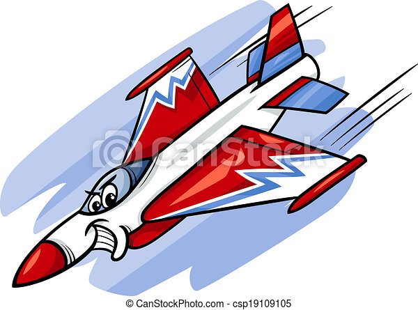 jet fighter plane cartoon illustration - csp19109105