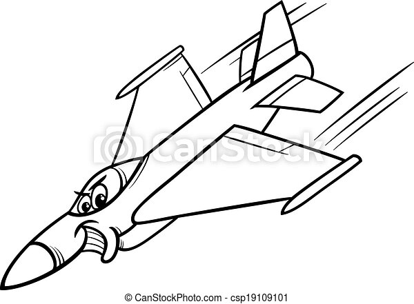 Jet fighter plane coloring page. Black and white cartoon... vector ...