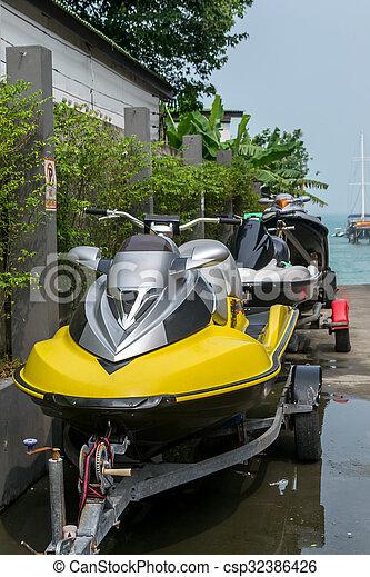 jet, plage, scooter, ski eau, ou - csp32386426
