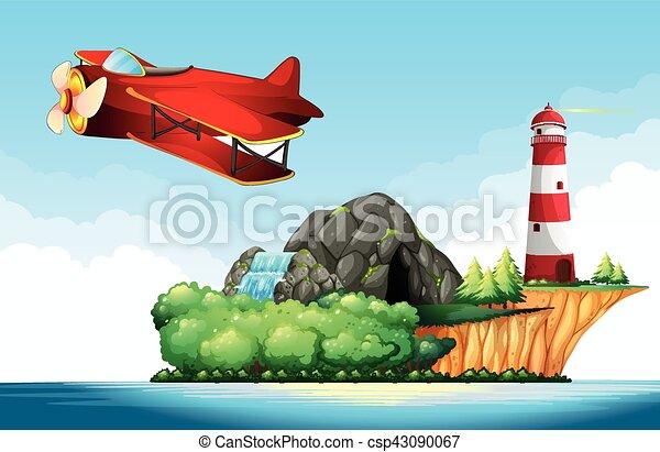 Jet plane flying over the ocean - csp43090067
