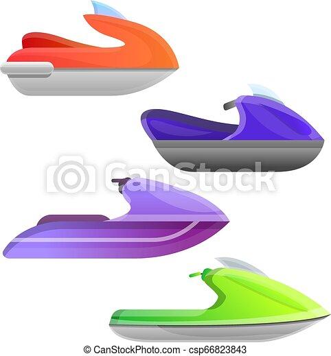 Jet Ski Icons Set Cartoon Style Jet Ski Icons Set Cartoon Set Of Jet Ski Vector Icons For Web Design