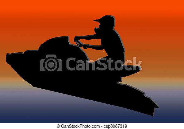 Jet ski sauter coucher soleil coureur dos image illustration de stock rechercher des - Jet ski dessin ...