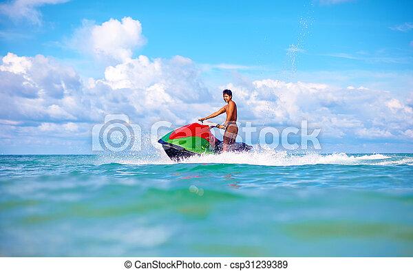 jet, vacances, exotique, océan, ski, actif, équitation, joyeux, homme - csp31239389