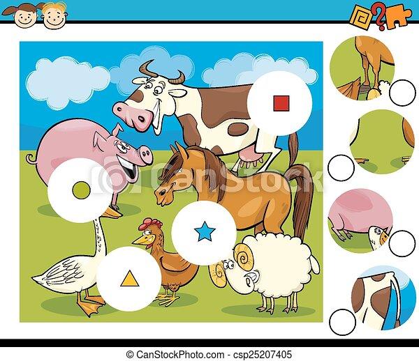 jeu, dessin animé, allumette, morceaux - csp25207405