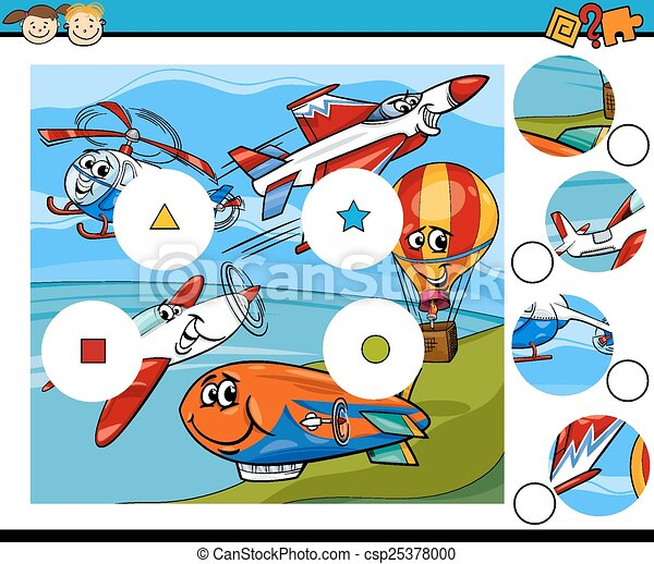 jeu, dessin animé, allumette, morceaux - csp25378000