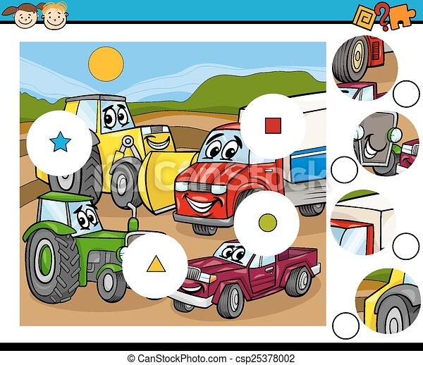 jeu, dessin animé, allumette, morceaux - csp25378002