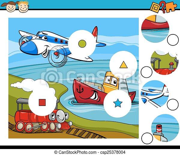 jeu, dessin animé, allumette, morceaux - csp25378004