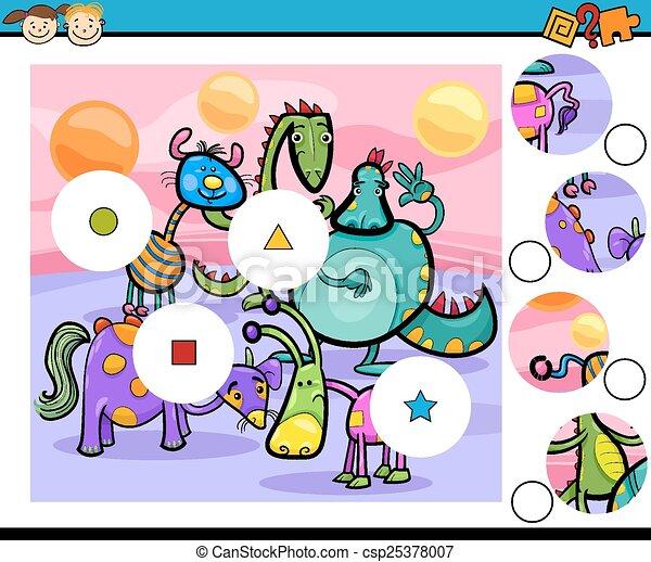 jeu, dessin animé, allumette, morceaux - csp25378007