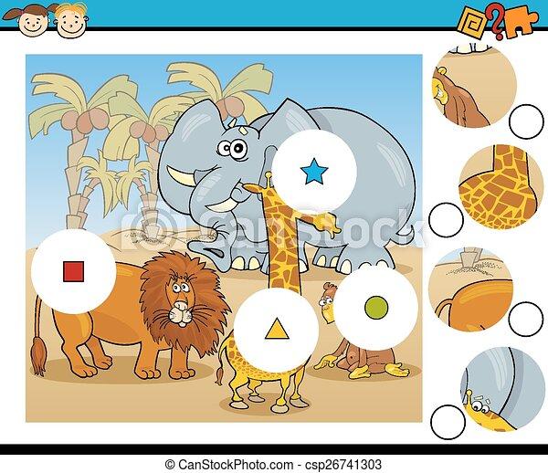 jeu, dessin animé, allumette, morceaux - csp26741303