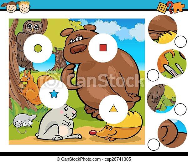 jeu, dessin animé, allumette, morceaux - csp26741305