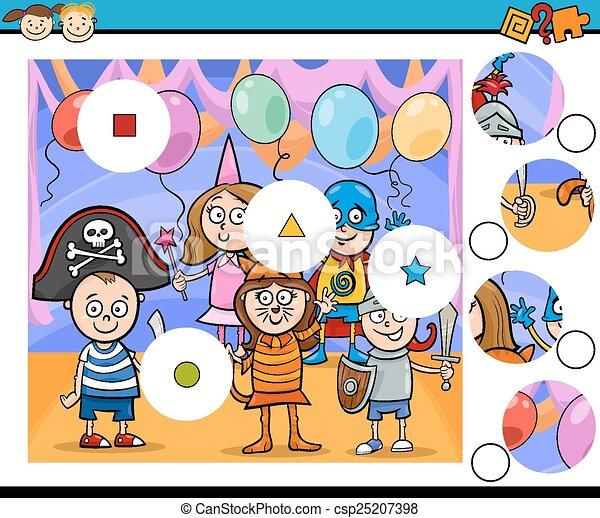 jeu, dessin animé, allumette, morceaux - csp25207398