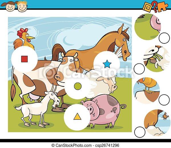 jeu, dessin animé, allumette, morceaux - csp26741296