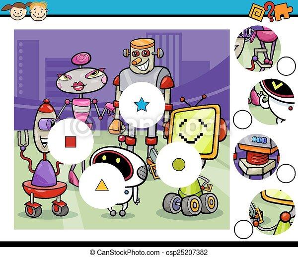 jeu, dessin animé, allumette, morceaux - csp25207382