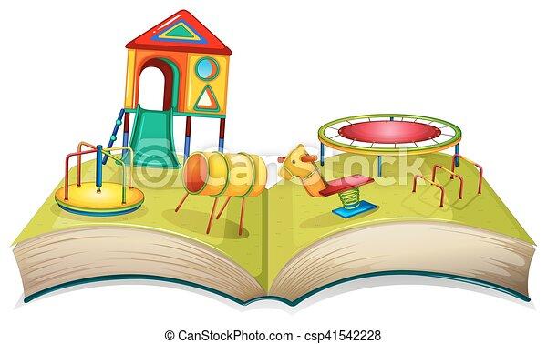 jeu, différent, cour de récréation, stations - csp41542228
