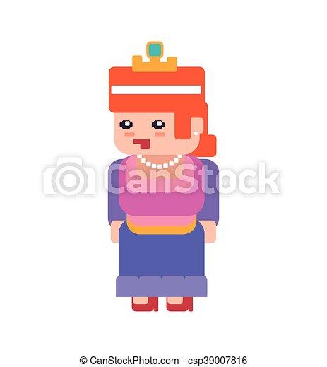 Jeu Graphique Girl Princesse Jeu Vecteur Vidéo Icon Pixel