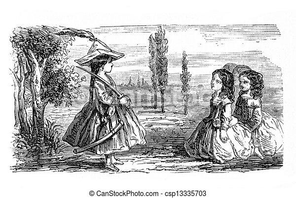 jeu, outdoor:, filles, capitaine, ordres, exécution - csp13335703