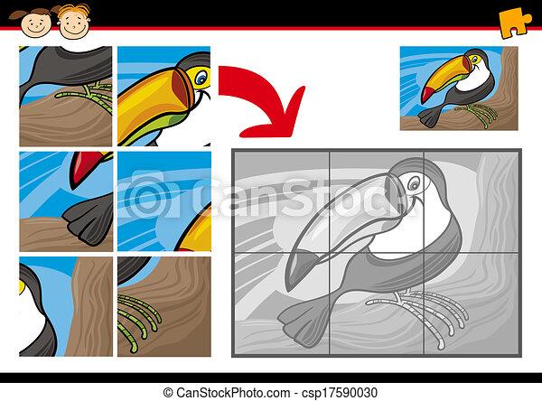 jeu, puzzle, toucan, puzzle, dessin animé - csp17590030