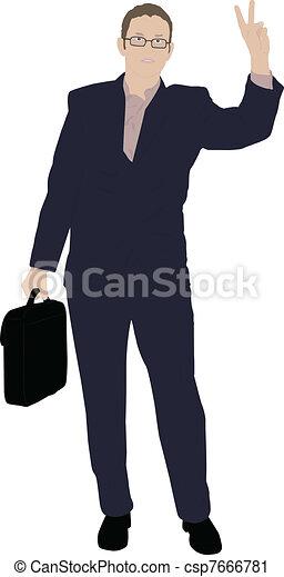 jeune, homme affaires - csp7666781