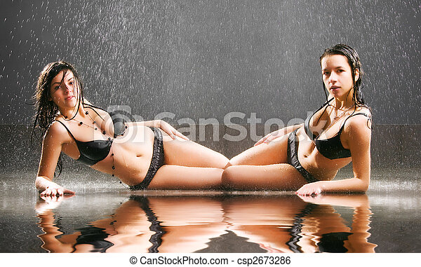 jeune, sexy, deux femmes - csp2673286