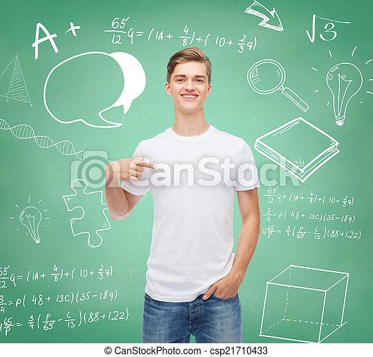 jeune, t-shirt, vide, sourire, blanc, homme - csp21710433