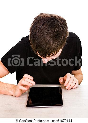 jeune, tablette, homme - csp61679144