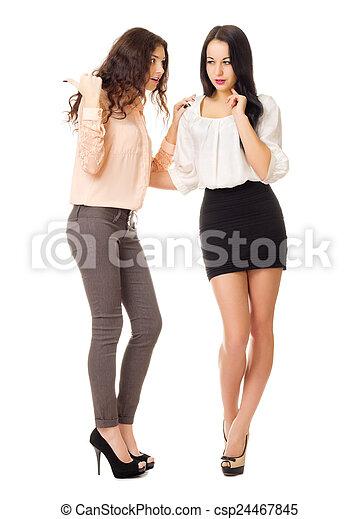 jeunes filles, isolé, deux - csp24467845