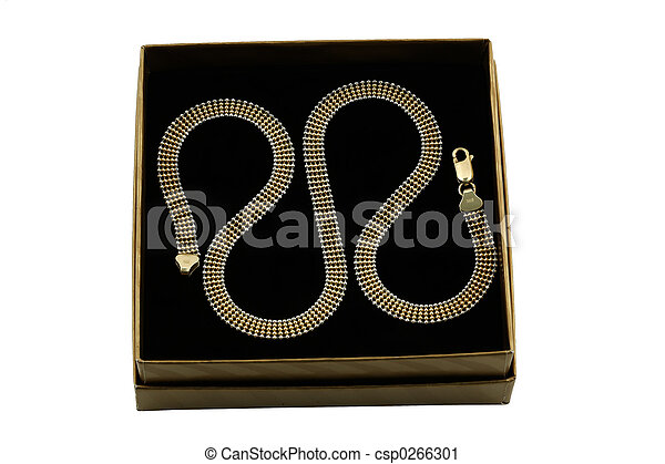 jewelery 002 gold chain over black - csp0266301