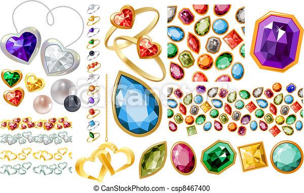 jewelery, anelli, set, gemme, grande - csp8467400