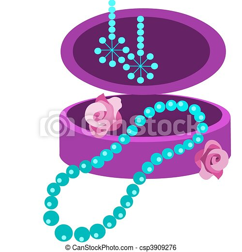jewelery box with earring, necklace and  flowers - csp3909276