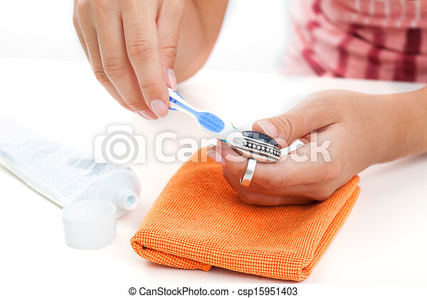 jewelery, metodi, argento, pulizia - csp15951403