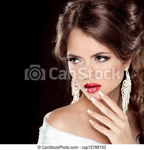 jewelry., cima., mulher, hairstyle., na moda, fazer, isolado, elegante, pretas, luxo, fundo, retrato, menina - csp15788153