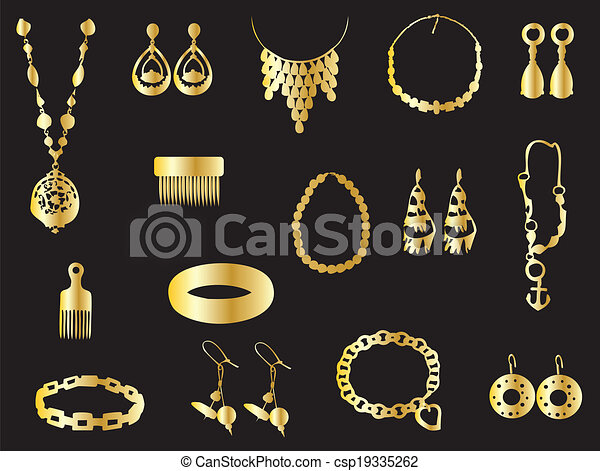 Gold jewelry clip art vector Search Drawings and Graphics
