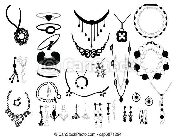 Jewelry On White Background Eps Vector Search Clip Art