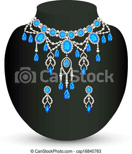jewelry female necklace and earrings with blue jewels - csp16840763