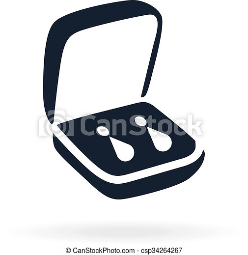 Jewelry icon in a small box icon of present or gift for clip art