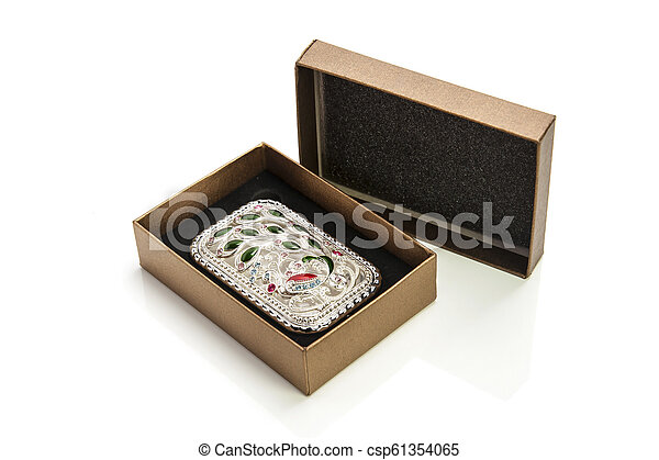 jewelry in box isolated on white background - csp61354065