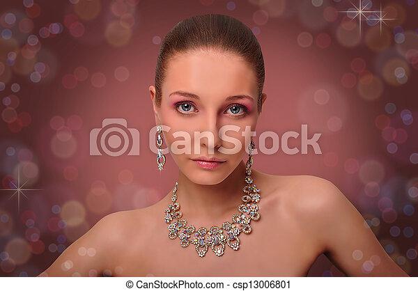 jewelry., kobieta, beautifull, szyja - csp13006801