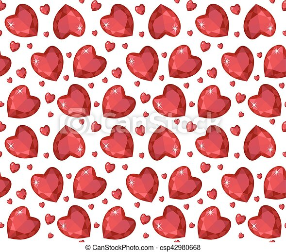 Jewelry Ruby Red Heart Seamless Pattern Brilliant Gems Hearts Endless Background Texture