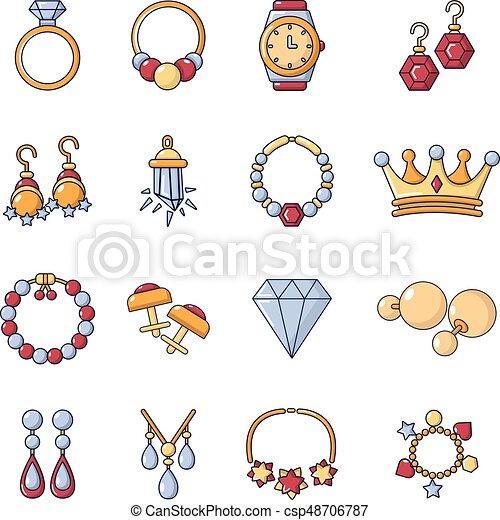 jewelry shop icons set cartoon style jewelry shop icons set