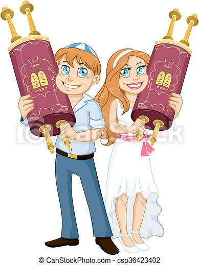 Jewish Boy And Girl Hold Torah For Bar Bat Mitzvah - csp36423402