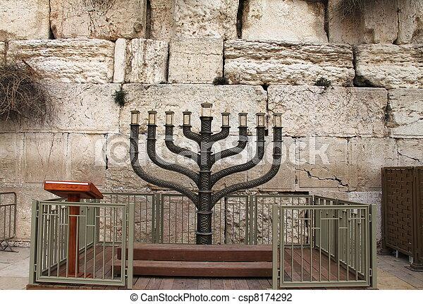 Jewish hanukkah candle holder - csp8174292
