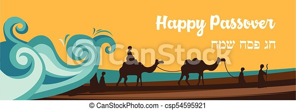 Jewish holiday banner template for Passover holiday. Group of People with Camels Caravan Riding in Realistic Wide Desert Sands in Middle East. - csp54595921