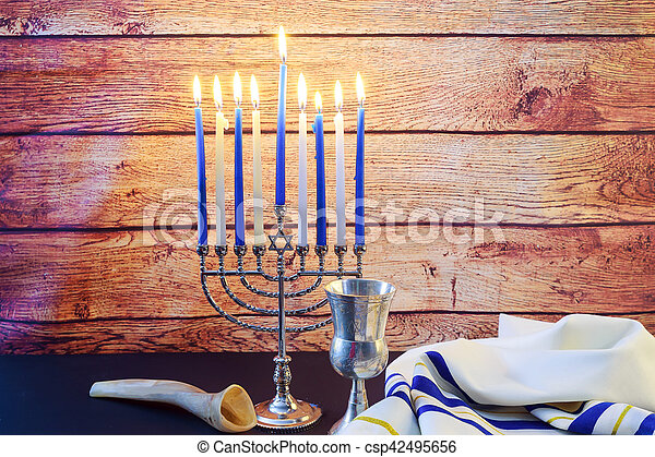 A still life composed of elements of the Jewish Chanukah Hanukkah festival. jewish holiday Hanukkah
