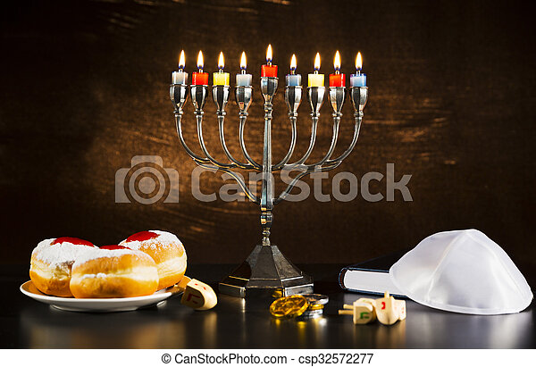 Jewish Holiday Hanukkah With Menorah, Torah, Donuts And Wooden Dreidels - csp32572277