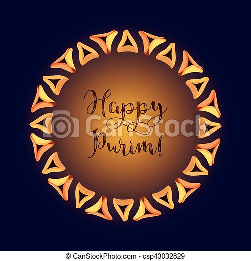 Jewish holiday of purim greeting card with traditional hamantaschen jewish holiday of purim greeting card csp43032829 m4hsunfo